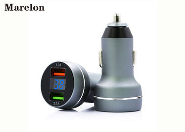 China Metal Car Phone Charger Aluminium Alloy Material With Intelligent LED Display supplier