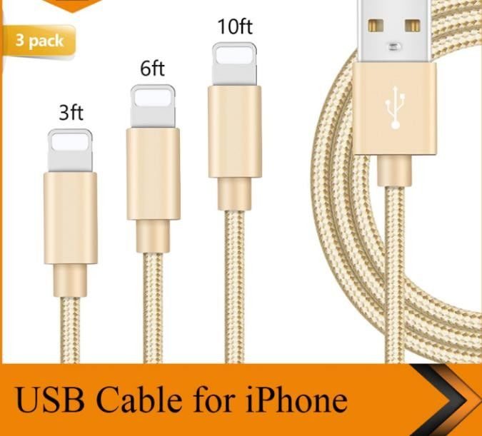 3FT 6FT 10FT USB Data Cable IPhone Charger Cord 1m 1 8m 3m