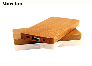 Thinnest Portable Wooden Power Bank , Wooden Phone Charger 4000mAh 125*65*10mm