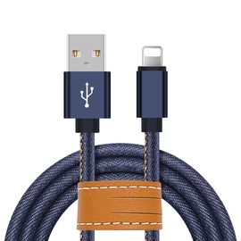 Blue Jean Braided Apple Lightning Cable 3.3ft Fast Transfer For IPhone X 8 7 6S