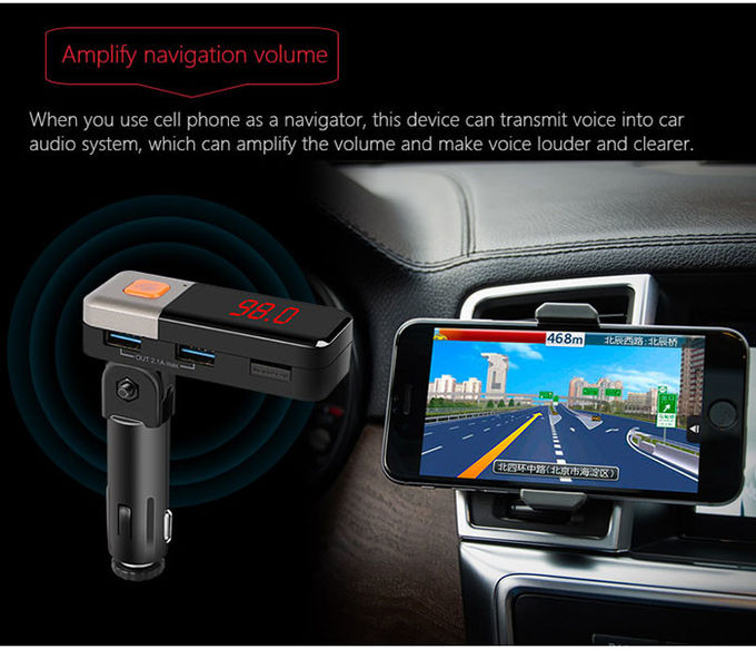 Hands - Free Automotive Bluetooth Car Charger MP3 Player With AUX Line Out