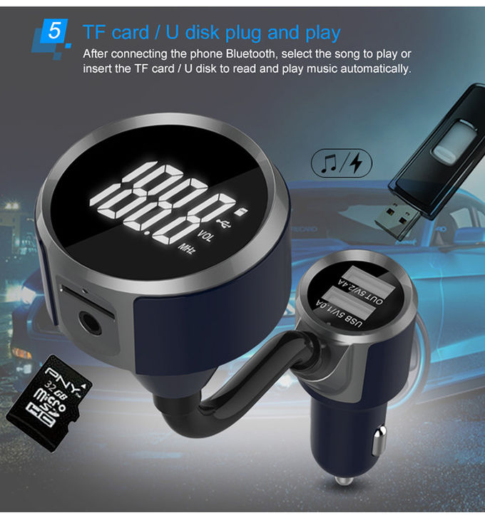 FM Transmitter Bluetooth Car Charger / Wireless Car Adapter For Car Audio Radio