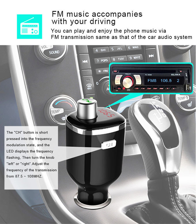 Fashion Bluetooth Car Charger / Universal Smartphone Charger Line Audio Input