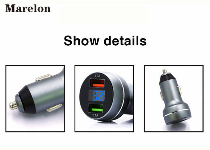 Metal Car Phone Charger Aluminium Alloy Material With Intelligent LED Display