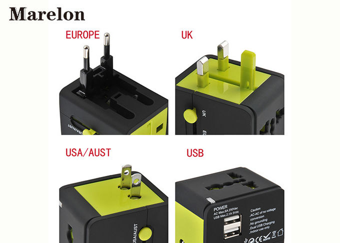 Global Travel Power Adapter, Dual USB Travel Adapter Built In 6A Fuse Safeguard Devices for Corporate Gifts