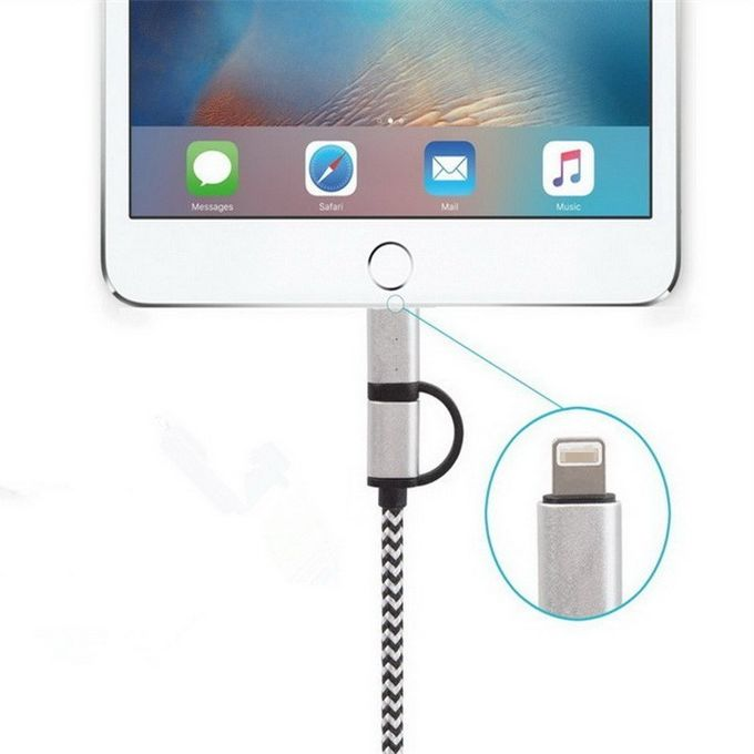 2-In-1 Durable Lightning To USB Data Sync Charging Cable , Cell Phone Usb Power Cable