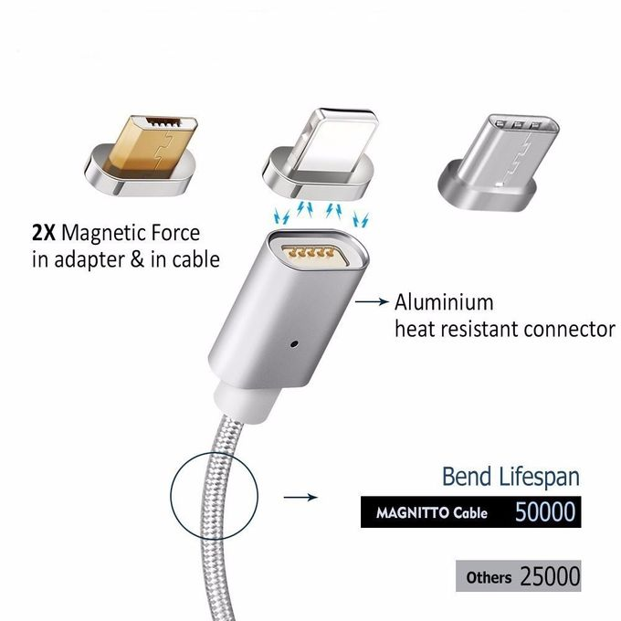 3 in 1 Magnetic Micro USB Data Cable , For iPhone Charger Cable
