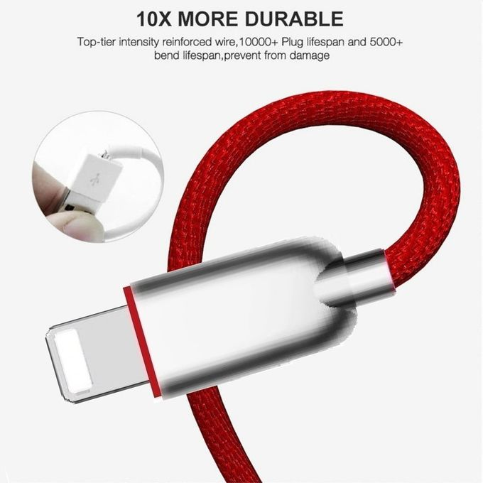 Metal Alloy Nylon Braided USB Data Cable 3 Feet 8 Pin 2A For IPhone Fast Quick Charging