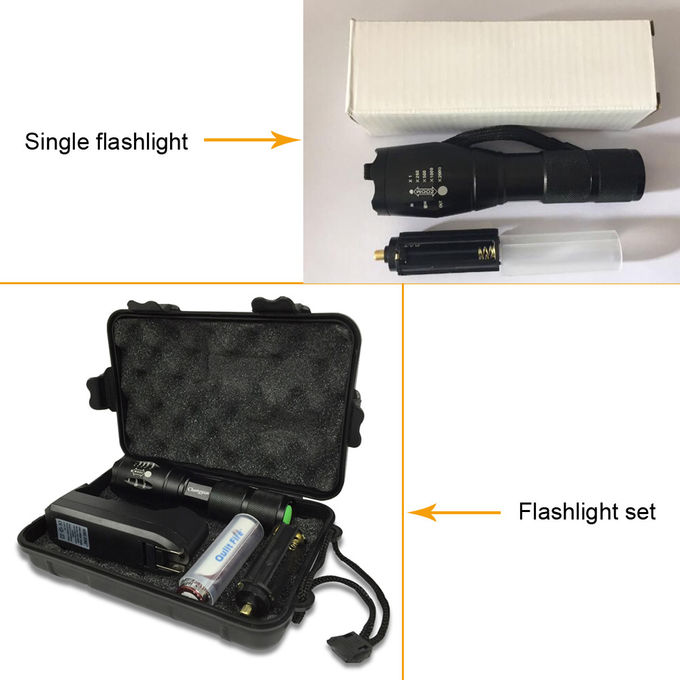 AAA 18650 Battery Flashlight , T6 Aluminum Zoomable Tactical LED Flashlight