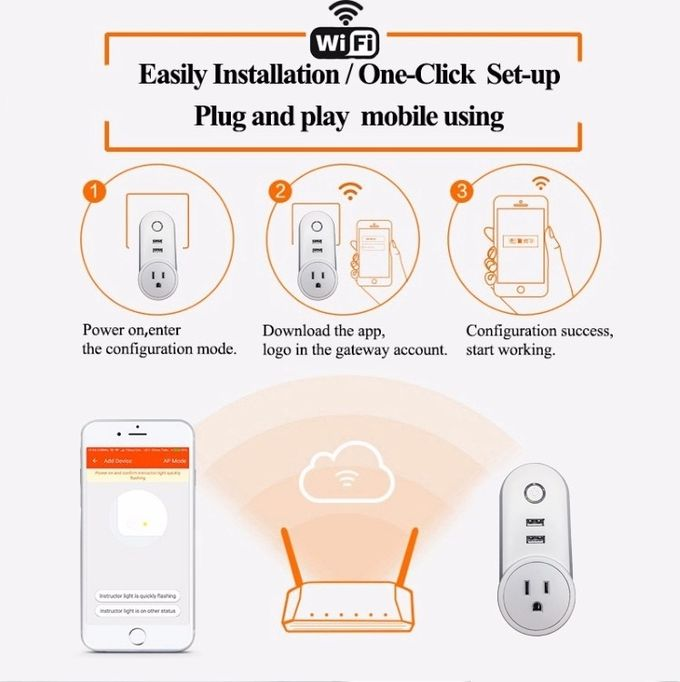 Home Automation System Wifi Smart Plug Socket Non - Grounding 10A Rated Current