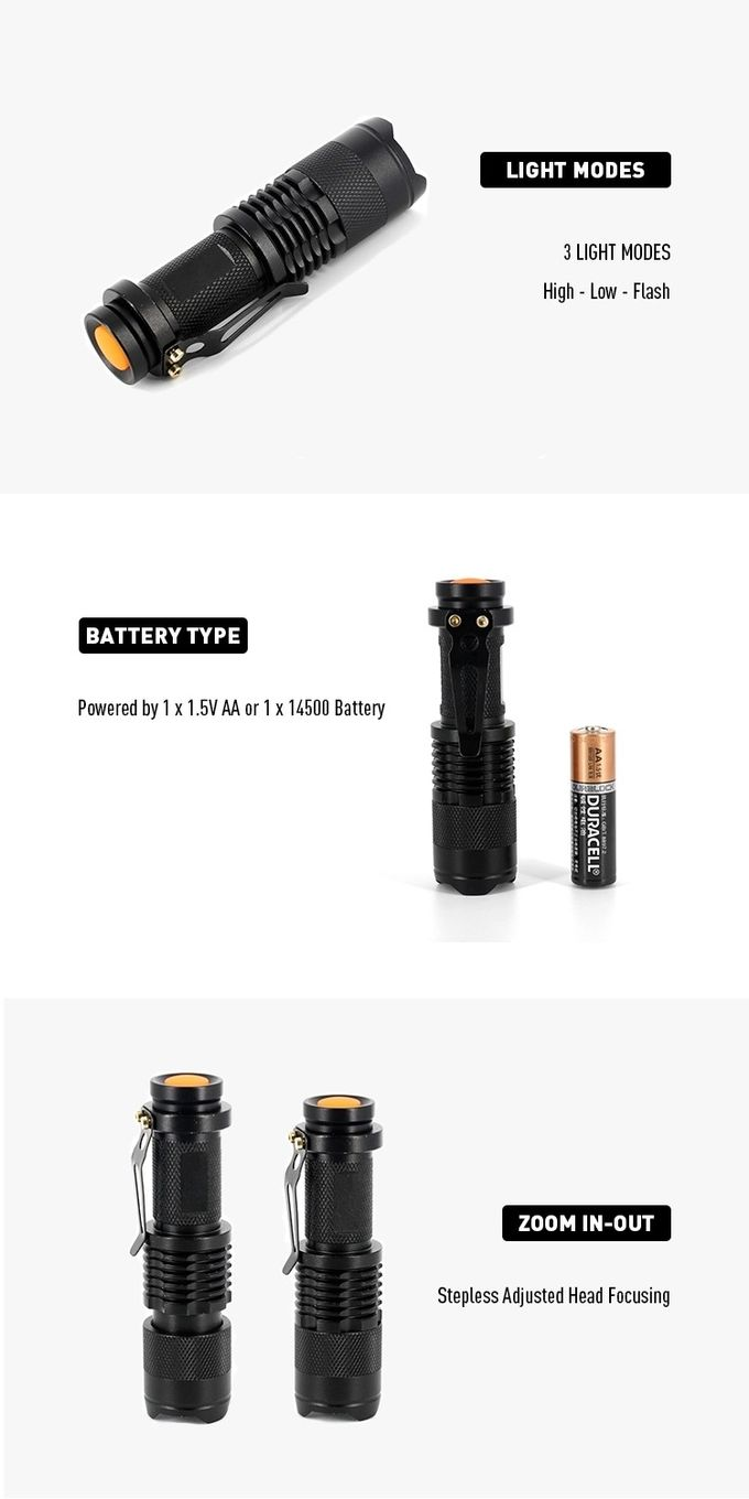 Metal LED Emergency Flashlight 100 Lumens Mini Torch Dry Battery For Promotion Gift
